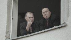 Jan Tomaszewski i Jacek Dębski na stadionie łódzkiego Widzewa. Rok 1998.