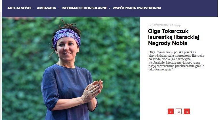 To jedyna informacja o Noblu dla Olgi Tokarczuk na stronach polskiej ambasady w Sztokholmie.