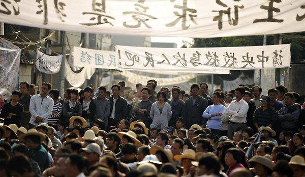 Mieszkańcy Wukan protestują.