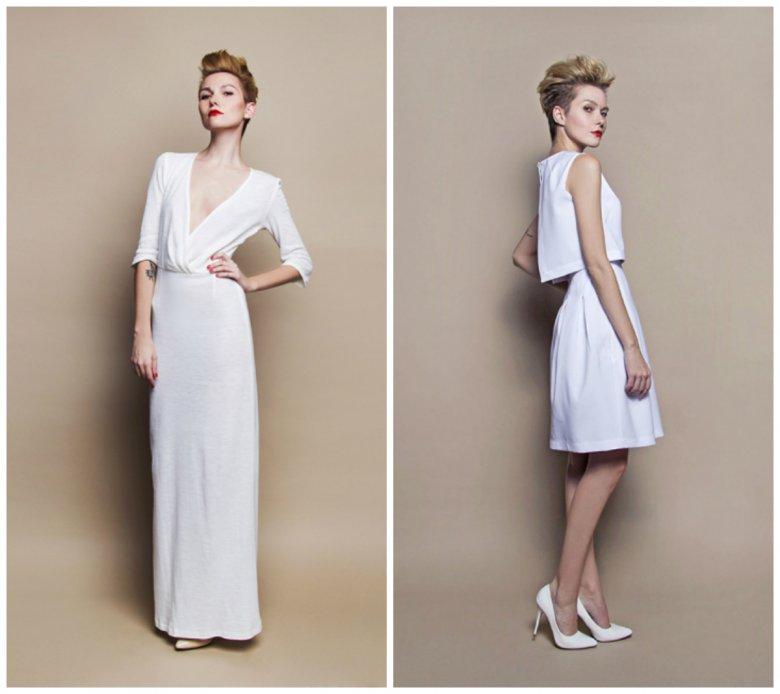 Projekty marki Szyjemy sukienki są proste i bezpretensjonalne, w takiej sukni ślubnej panna młoda może chodzić także na inne, post-ślubne okazje.