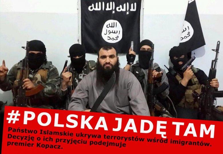 Plakat ostrzegający przed ryzykiem ukrywania się wśród uchodźców potencjalnych zamachowców